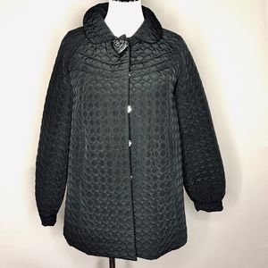Betsey Johnson Black Quilted Coat Rose Button